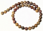1 Dozen Leopardskin Jasper 10mm Round Semiprecious Gemstone Beads