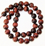 1 Dozen Red Tiger Eye 10mm Round Semiprecious Gemstone Beads