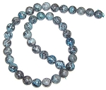 1 Strand of Blue Picasso Jasper 10mm Round Semiprecious Gemstone Beads