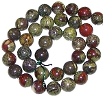 1 Dozen Dragon Blood Jasper 10mm Round Semiprecious Gemstone Beads