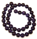 1 Dozen Blue Goldstone 10mm Round Semiprecious Gemstone Beads