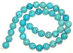 1 Dozen Turquoise Colored Howlite 10mm Round Semiprecious Gemstone Beads