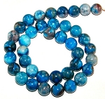 1 Dozen Blue Crazy Lace Agate 10mm Round Semiprecious Gemstone Beads