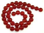 1 Dozen Red Carnelian 10mm Round Semiprecious Gemstone Beads