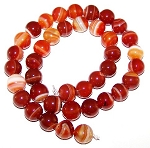 1 Dozen Red Striped Agate 10mm Round Semiprecious Gemstone Beads
