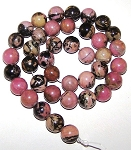 1 Dozen Rhodonite 10mm Round Semiprecious Gemstone Beads