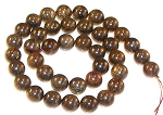 1 Dozen Bronzite 10mm Round Semiprecious Gemstone Beads