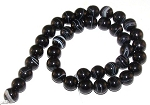 1 Strand of Black Striped Agate 12mm Round Semiprecious Gemstone Beads