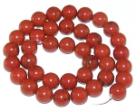 1 Dozen Red Jasper 10mm Round Semiprecious Gemstone Beads