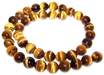 1 Dozen Natural Tiger Eye 10mm Round Semiprecious Gemstone Beads