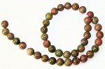 1 Dozen Unakite 10mm Round Semiprecious Gemstone Beads