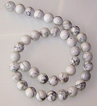 1 Dozen White Howlite 10mm Round Semiprecious Gemstone Beads