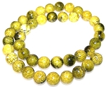 1 Strand of Yellow Matrix Jasper 10mm Round Semiprecious Gemstone Beads