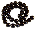 1 Strand of Black Onyx 12mm Round Semiprecious Gemstone Beads