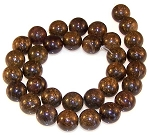 6 Bronzite 12mm Round Semiprecious Gemstone Beads