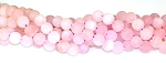 6 Frosted Rose Quartz 12mm Round Semiprecious Gemstone Beads
