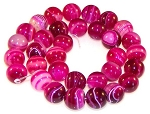 6 Fuchsia Striped Agate 12mm Round Semiprecious Gemstone Beads
