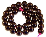 6 Garnet 12mm Round Semiprecious Gemstone Beads