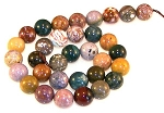 6 Ocean Jasper 12mm Round Semiprecious Gemstone Beads
