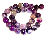 6 Purple Striped Agate 12mm Round Semiprecious Gemstone Beads