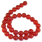6 Red Carnelian 12mm Round Semiprecious Gemstone Beads
