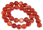1 Strand of Red Striped Agate 12mm Round Semiprecious Gemstone Beads