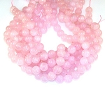 6 Rose Quartz 12mm Round Semiprecious Gemstone Beads