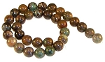 6 Snakeskin Jasper 12mm Round Semiprecious Gemstone Beads