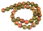 1 Strand of Unakite 12mm Round Semiprecious Gemstone Beads