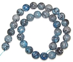1 Strand of Blue Picasso Jasper 12mm Round Semiprecious Gemstone Beads