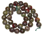 6 Dragon Blood Jasper 12mm Round Semiprecious Gemstone Beads