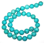 6 Turquoise Colored Howlite 12mm Round Semiprecious Gemstone Beads