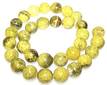 6 Yellow Matrix Jasper 12mm Round Semiprecious Gemstone Beads