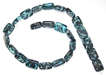 1 Strand of Blue Picasso Jasper 12x16mm Puff Rectangle Semiprecious Gemstone Beads