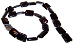 1 Strand of 12x16mm Puff Rectangle Semiprecious Gemstone Beads - Black Striped Agate