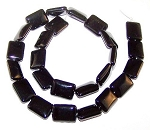 1 Strand of 12x16mm Puff Rectangle Semiprecious Gemstone Beads - Black Onyx