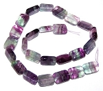 1 Strand of 12x16mm Puff Rectangle Semiprecious Gemstone Beads - Fluorite