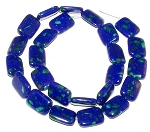 1 Strand of 12x16mm Puff Rectangle Semiprecious Gemstone Beads - Azurite