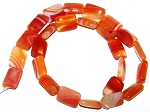 1 Strand of 12x16mm Puff Rectangle Semiprecious Gemstone Beads - Red Orange Striped Agate