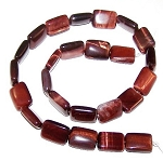 1 Strand of 12x16mm Puff Rectangle Semiprecious Gemstone Beads - Red Tiger Eye