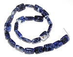 1 Strand of 12x16mm Puff Rectangle Semiprecious Gemstone Beads - Sodalite