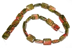1 Strand of 12x16mm Puff Rectangle Semiprecious Gemstone Beads - Unakite