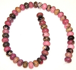 1 Strand of Rhodonite 12x8mm Puff Rondelle Semiprecious Gemstone Beads