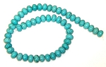 1 Strand of Blue Turquoise Colored Howlite 12x8mm Puff Rondelle Semiprecious Gemstone Beads