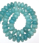 1 Strand of Amazonite 12x8mm Puff Rondelle Semiprecious Gemstone Beads