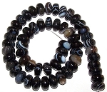 1 Strand of Black Striped Agate 12x8mm Puff Rondelle Semiprecious Gemstone Beads