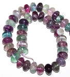 1 Strand of Fluorite 12x8mm Puff Rondelle Semiprecious Gemstone Beads