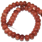 1 Strand of Goldstone 12x8mm Puff Rondelle Semiprecious Gemstone Beads