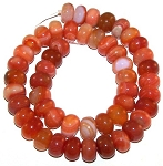 1 Strand of Red Orange Striped Agate 12x8mm Puff Rondelle Semiprecious Gemstone Beads