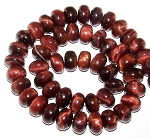 1 Strand of Red Tiger Eye 12x8mm Puff Rondelle Semiprecious Gemstone Beads